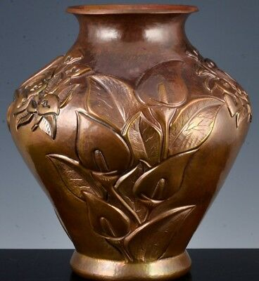 Very Fine Abdon Punzo Angel Mexican Hammered Copper Art & Crafts Floral Vase