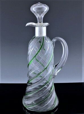 GREAT c1900 ENGLISH STERLING SILVER GREEN SWIRLED GLASS WINE CLARET JUG DECANTER