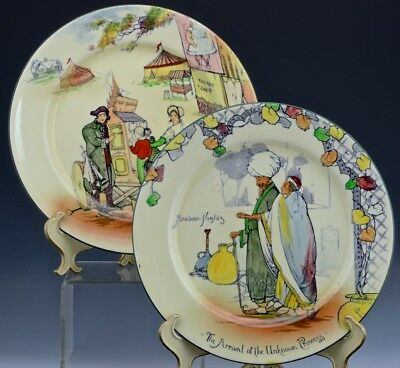2 Antique Royal Doulton Plates Old English Scenes Country Fair & Arabian Nights