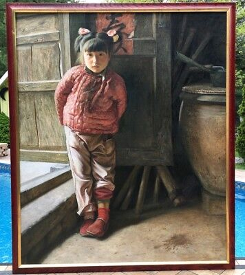 Important Chinese Xu Yanzhou Little Mountain Village Girl Oil Painting Published