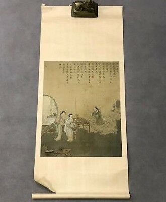 Fine Old Chinese Imperial Figures Landscape Silk Scroll Painting Signed 1