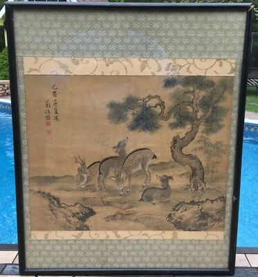 Very Fine Old Chinese Deer Landscape Scroll Painting On Silk Signed Framed