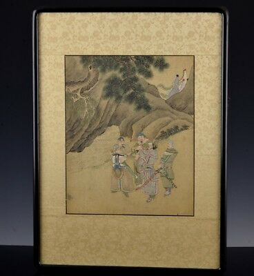 Superb Detailed 18/19Thc Chinese Imperial Warriors Landscape Painting On Silk