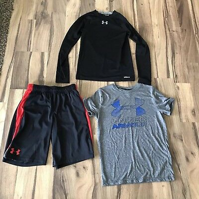Under Armour Youth Boy Lot Of 3 Two Shirts And Shorts Size Medium
