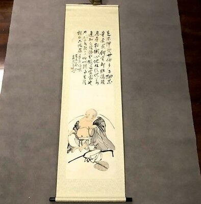 Interesting Old Chinese Japanese Happy Lucky Buddha Silk Scroll Painting Signed