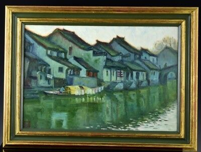 Fine Chinese Yangtze River Landscape Oil On Canvas Painting Signed Seal Mark