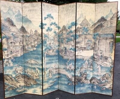 Very Fine Antique Chinese Painted Figural Landscape Six-Panel Floor Screen