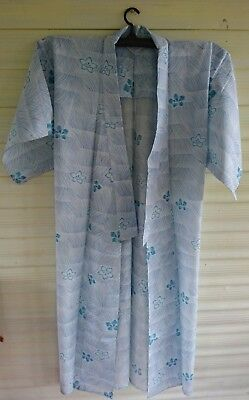 Lovely Pale Blue Floral Patterned Cotton Vintage Japanese Full Length Kimono