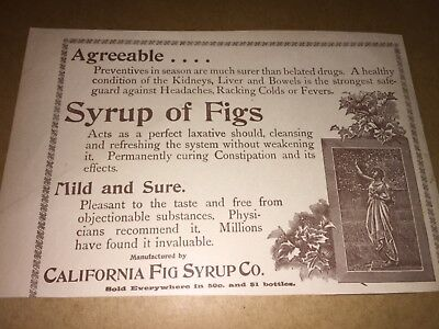 1896 Vintage Syrup Of Figs, California Fig Syrup Co. Ad.