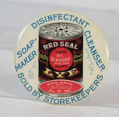 ca1910 CELLULOID ADVERTISING POCKET MIRROR - RED SEAL LYE SOAP MAKER CLEANSER