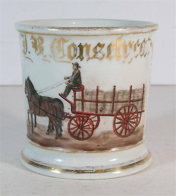 ca1900 HAND PAINTED TEAMSTER / DELIVERY MAN OCCUPATIONAL SHAVING MUG WITH DRAY