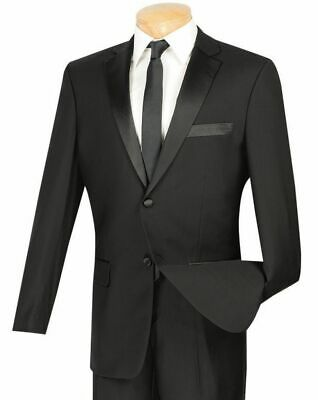 VINCI Men's Black Slim Fit Formal Tuxedo Suit w/ Sateen Lapel & Trim NEW
