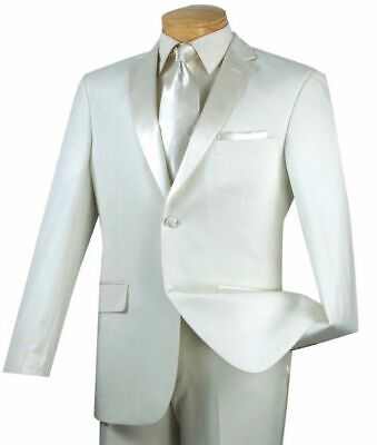 VINCI Men's Ivory Slim Fit Formal Tuxedo Suit w/ Sateen Lapel & Trim NEW