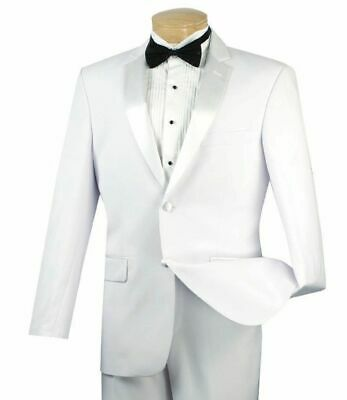 VINCI Men's White Slim Fit Formal Tuxedo Suit w/ Sateen Lapel & Trim NEW