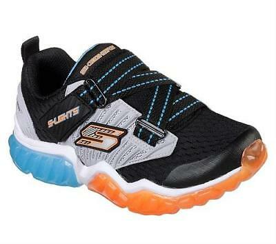 Boy/'s Youth SKECHERS S LIGHTS RAPID FLASH Black+Gray Sneakers Shoes 90721 NEW