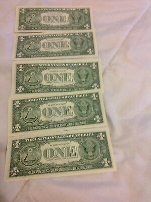 5 Gem UNC 1957 B $1 Silver Certificate Star Notes Consecutive Serial Numbers