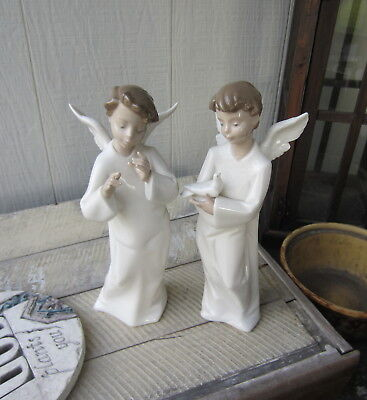 "NAO by LLADRO Spain 9"" ANGEL & Dove 1261 & 1259 Figurine Set"