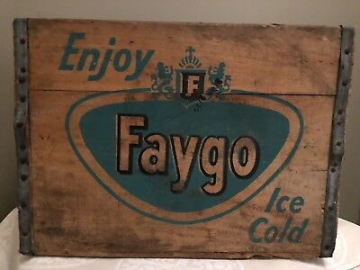 Very Rare Vintage Enjoy FAYGO Ice Cold Beverages Wood Soda Pop Crate Detroit Mi