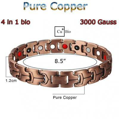 4 In 1 Pure Solid Copper Magnetic Chain Bracelet Men Women Arthritis Pc11V