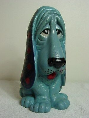 """Vintage Blue Droopy-Eyed Hound Dog Durable Plastic Coin Bank 13"""" High"""