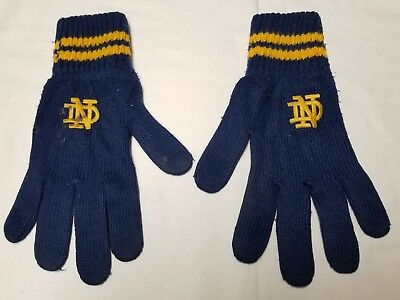 Vintage Notre Dame Fighting Irish Football Blue & Gold Winter Snow Gloves game