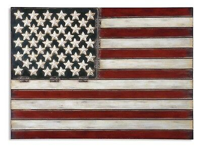"""American Flag Metal Wall Art in Aged Red, White, & Blue Finish,36""""x26"""