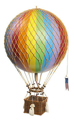 "Royal Aero 22"" Rainbow Hot Air Balloon w/ Rattan Basket & Rope Net"