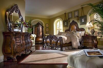 Chateau Beauvais French Rococo Luxury Queen Bedroom Set in Noble Bark