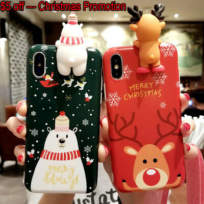 Christmas Gift Phone Cover Case iPhone XS Max 7 8 Plus XR X XS 3D Reindeer Tree