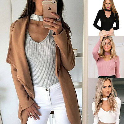 Women Choker Neck Knitted Long Sleeve Top Stripes Casual Slim Sweater