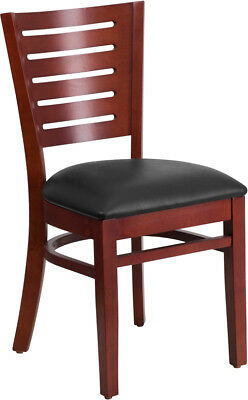 Darby Series Slat Back Mahogany Wooden Restaurant Chair Black Vinyl Seat