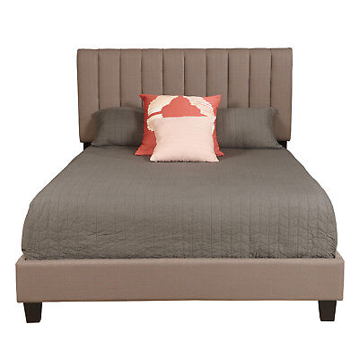 Xavier Contemporary Channel Tufted Queen Bed Taupe Linen and Espresso Brown Legs