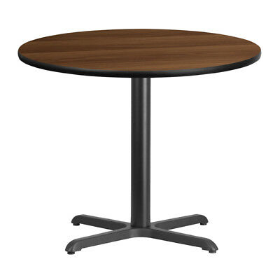 "36"" Round Walnut Laminate Top With 30"" X 30"" Table Height Base, Brown"