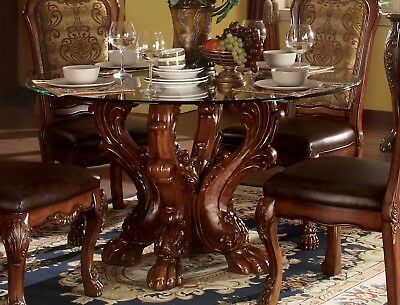 """Dresden Formal Carved Wood 54"""" Round Glass Top Dining Table Cherry Oak Brown,Red"""
