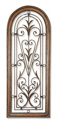 """New Cristy Metal Wall Scroll Art in Distressed Dark Brown Washed Finish,20""""x50"""