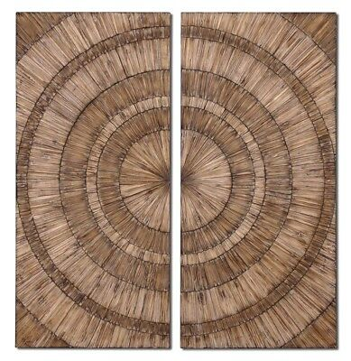 """New Set of 2, Lanciano Wood Chips Wall Art in Natural & Burnished Wash, 24""""x52"""