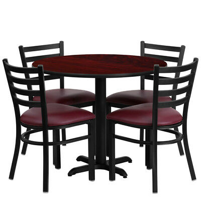 "New 36"" Round Mahogany Laminate Table Set W/ 4 Burgundy Red Vinyl Metal Chairs"