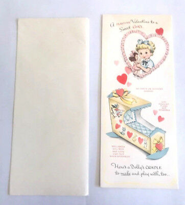 Valentine Card A Sweet Girl Dolly's Cradle To Make Play Card Punch Out Pcs Vtg