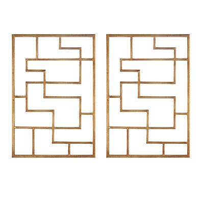 """Set of 2, Maze Iron Wall Art in Antique Gold Leaf, 16""""x24"""