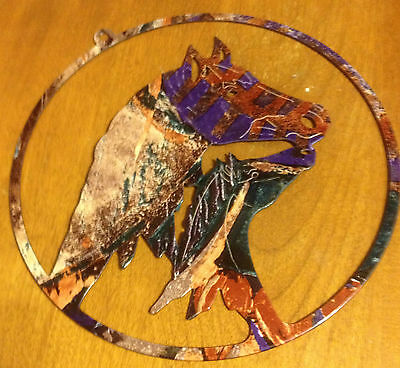 """Metal Enameled Horse Picture Cut-Out Of 2 Horses 8"""""""