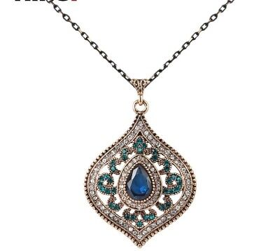 Beautiful Intricate Crystal Pendant Ancient Gold Plated Choker Vintage Necklace