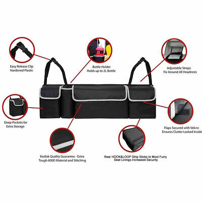 Multi-use Black High Capacity Car Seat Back Organizers Bag Interior Newly