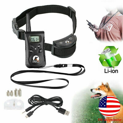 Electric Remote Dog Train Shock Collar Anti Bark 500Yard Rechargeable Waterproof