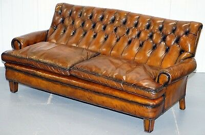 Very Comfortable Victorian Restored Howard & Son's Style Aged Brown Leather Sofa