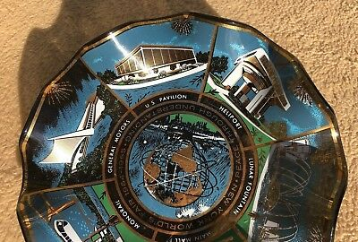 Vintage New York World's Fair 1964 1965 Art Glass Atomic Age Ashtray Heliport NY