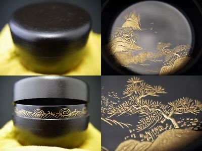 Japanese Kanshitsu Lacquer Wooden Tea caddy LANDSCAPE makie Hira-Natsume (1105)