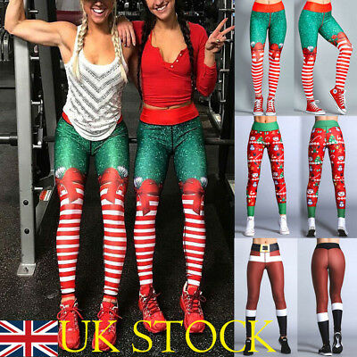 66b65de41fd88 Sport Womens Christmas Print Leggings High Waist Hip Yoga Pants Workout  Trousers