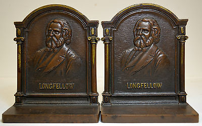BRONZED BOOKENDS LONGFELLOW ANTIQUE CAST IRON c1920 PAIR