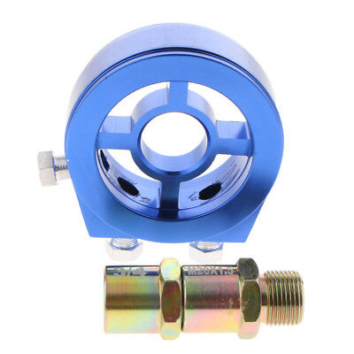 AN10 Car Auto Oil Filter Relocation Sandwich Plate Adapter & Fitting Blue