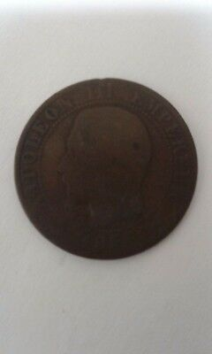 Antique French Centimes Coin  Napoleon Iii Empereur 1856 W